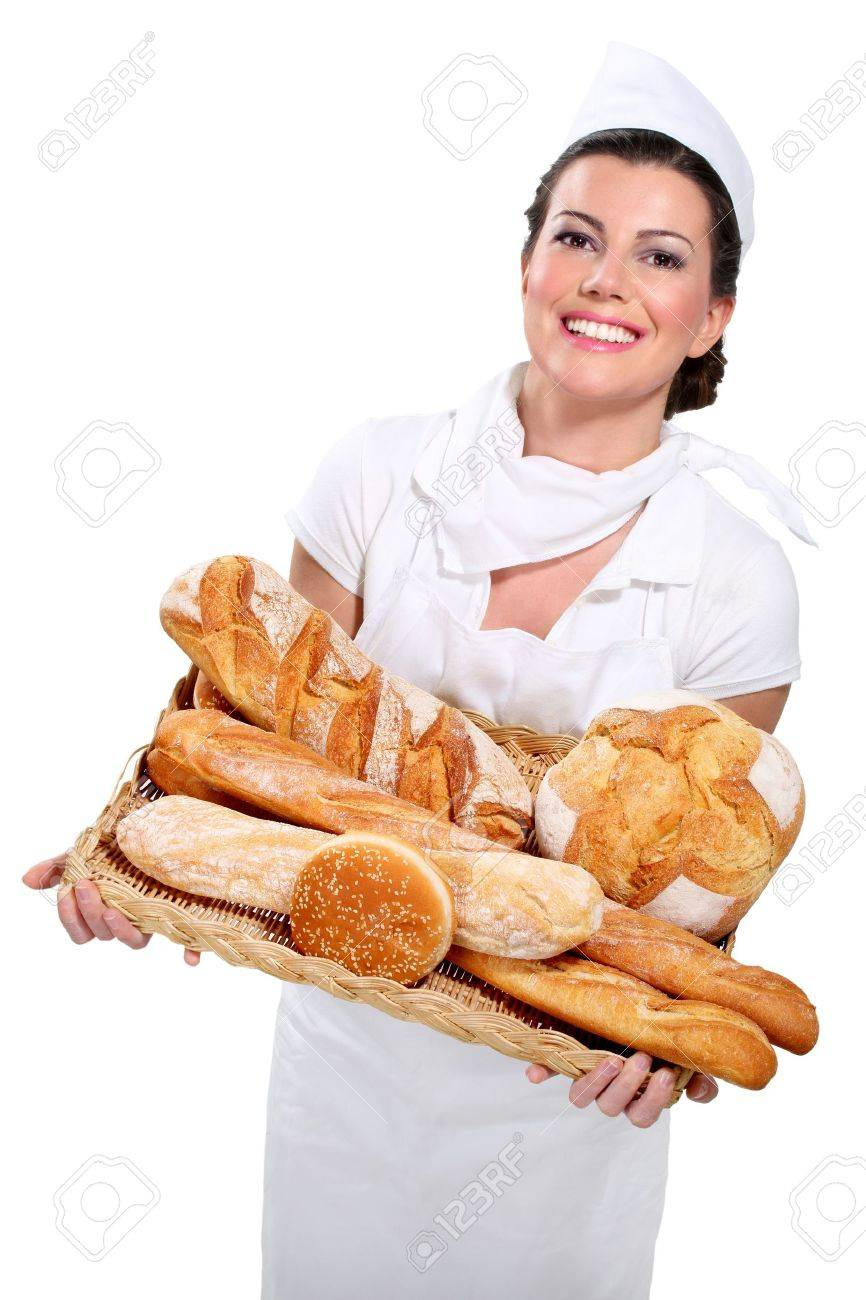 young beautyful woman baker on white - 17644012