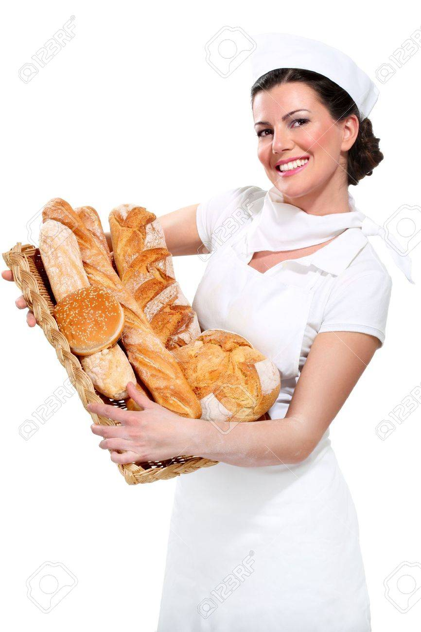 young beautyful woman baker on white - 17644001