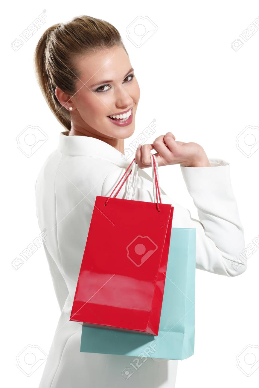 Young beautiful woman with shopping bag on white background Stock Photo - 18498582