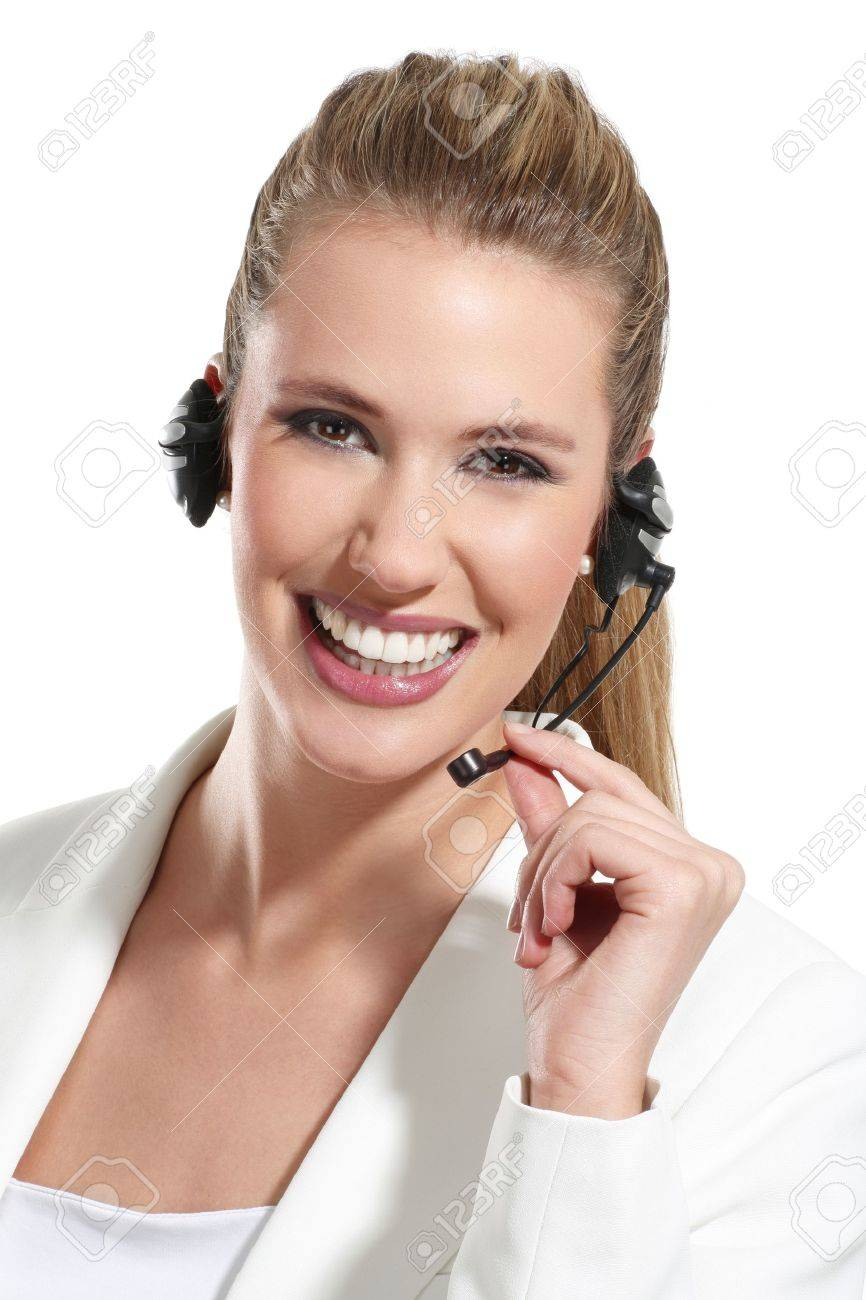 beautiful woman talk at the helpdesk on white - 18498526