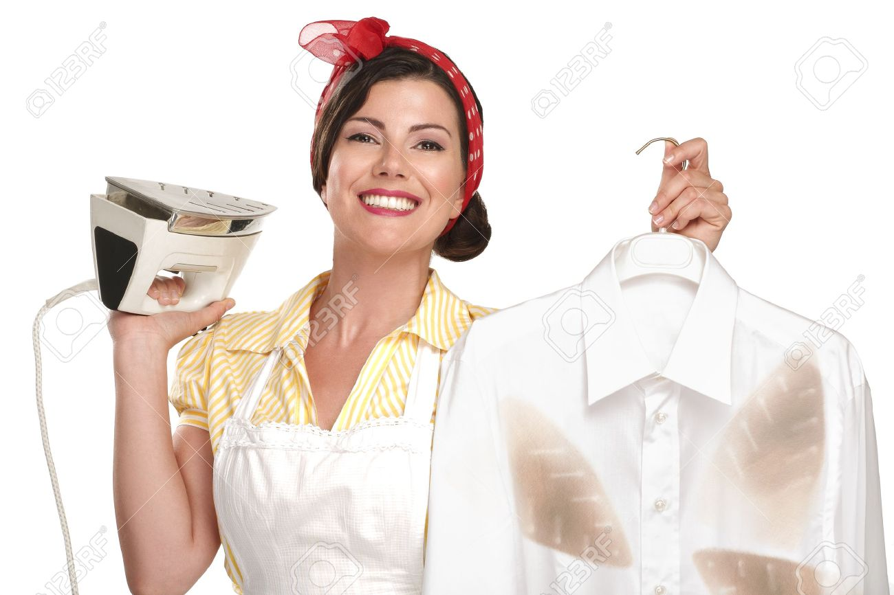 happy beautiful woman housewife ironing a shirt on white - 20888601
