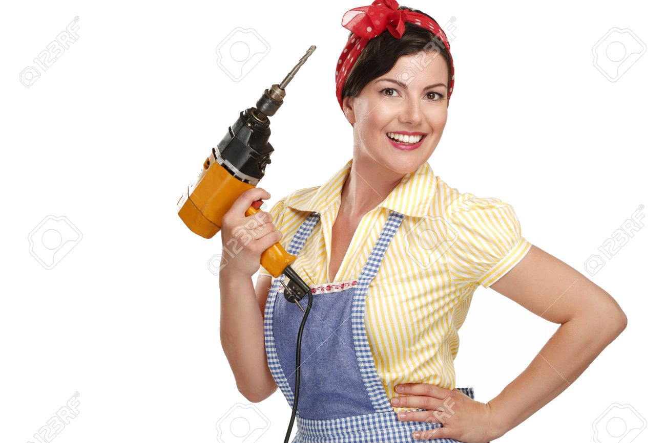 pretty funny girl struggling with some housework on white - 20888608