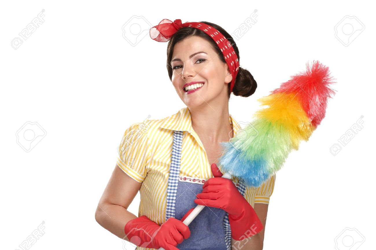young happy beautiful woman maid dusting on white background - 20888704
