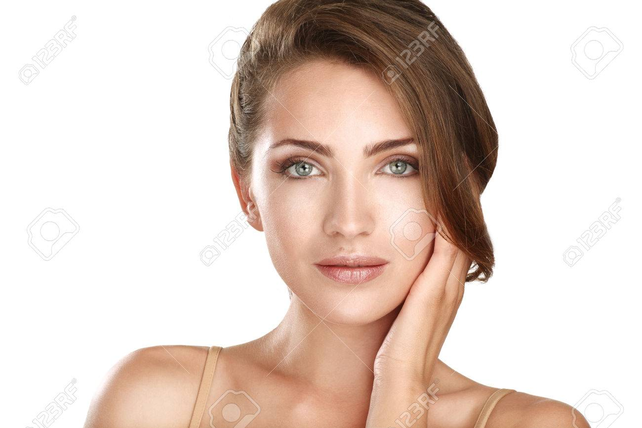 young beautiful model close up posing for perfect skin on white - 22642255