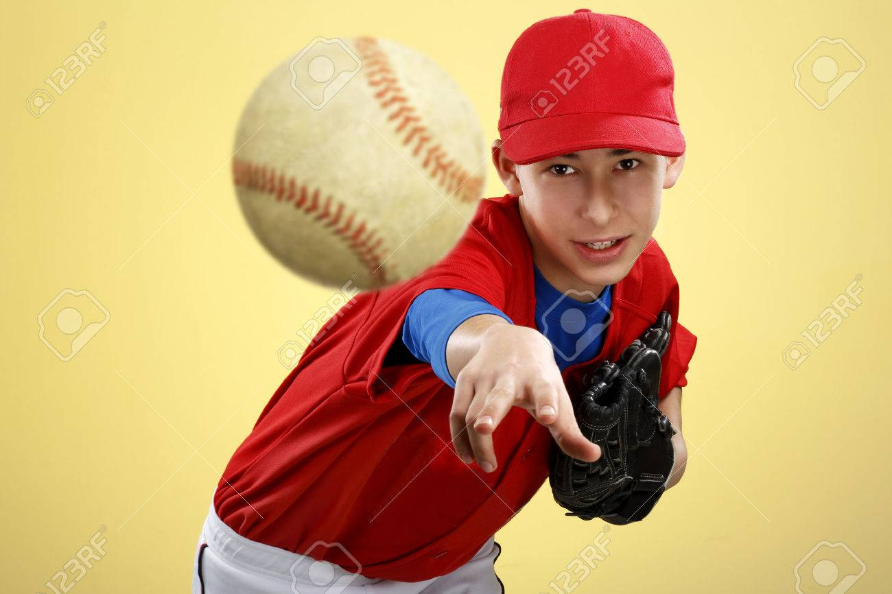 portrait of a beautiful teen baseball player in red and white uniform on colorful background - 26906549