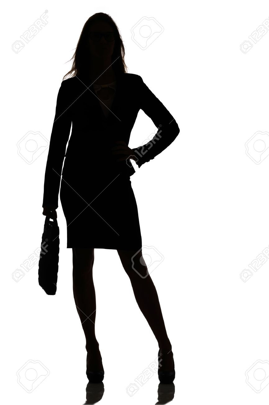 silhouette of a busy business woman backlight studio on white stock
