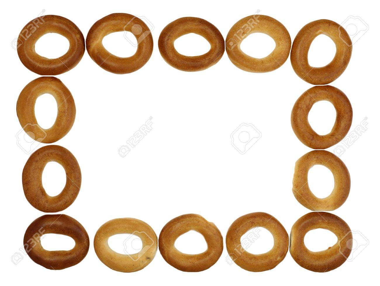 Small bagels frame on  recycled cardboard background Stock Photo - 9885979