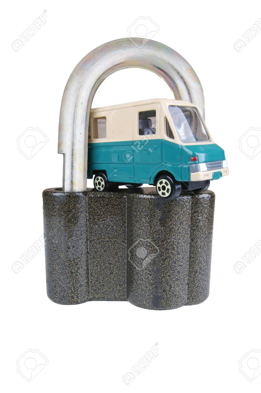 Vehicle security toy model cars in Padlocks Stock Photo - 17183096