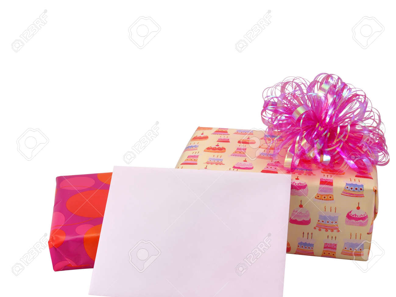 Two Wrapped Birthday Presents With Blank Card Envelope For Messages