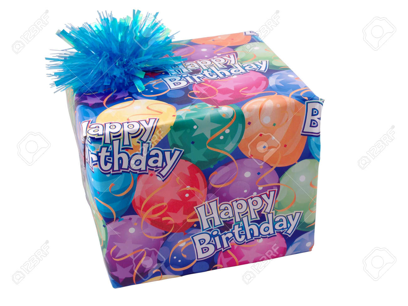 Large birthday present with balloon paper and bow Stock Photo - 743657