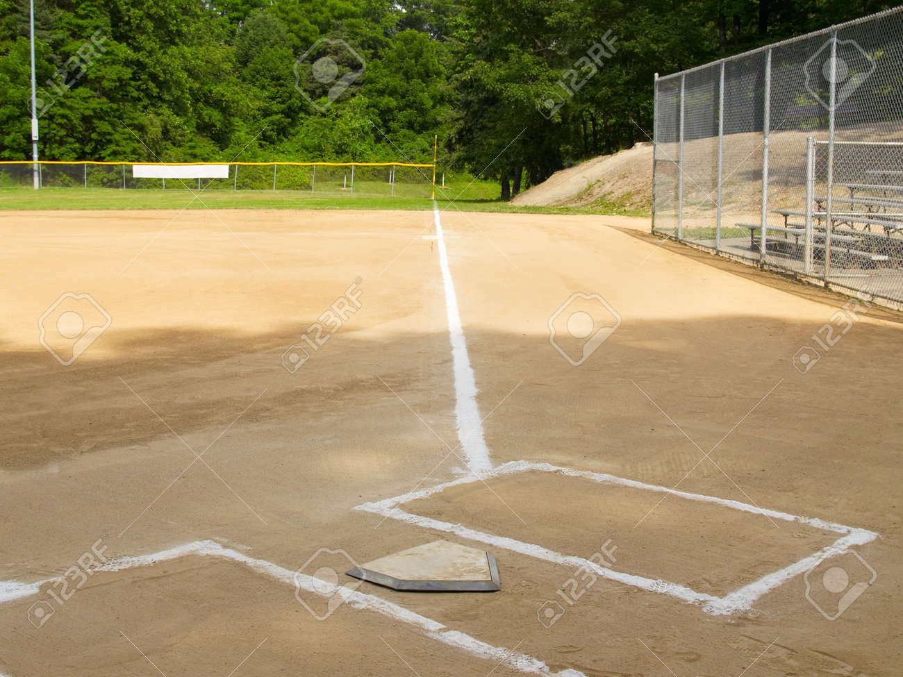 home plate and first base foul line on a small town ball diamond