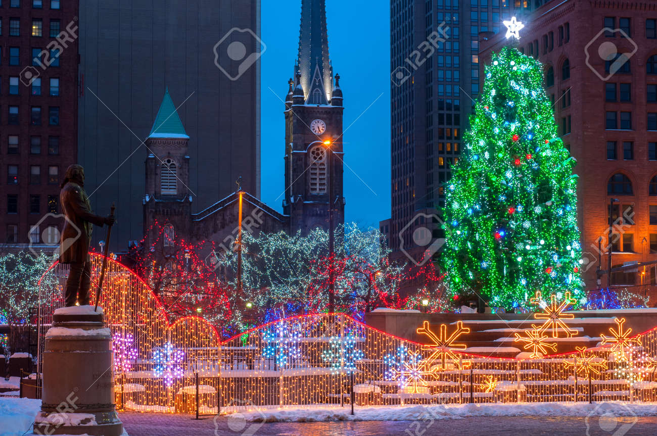Christmas Lighting Display In Cleveland Ohio Stock Photo, Picture ...