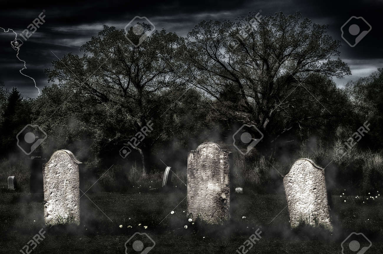 Glow Of Gloom >> Weathered Headstones In An Old Cemetery Glow In An Eerie Light