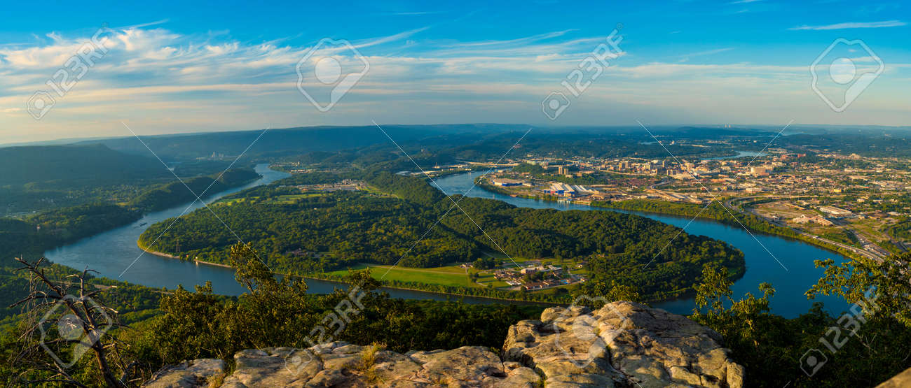 Panorama of Chattanooga and the Tennessee River from high up