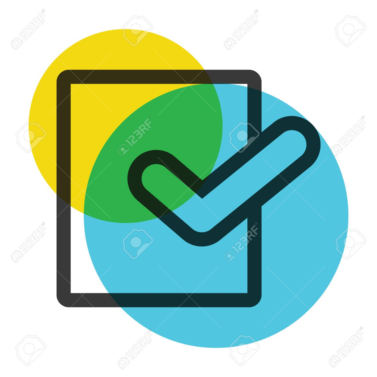 Office Paper With Symbol Yellow And Blue Color Mark Icon Royalty ...
