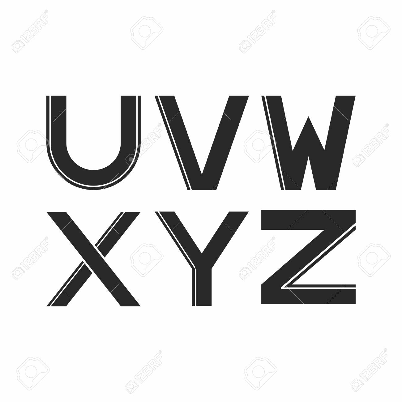 Stylized Letters Of Black Color With Stripe Vector Illustration