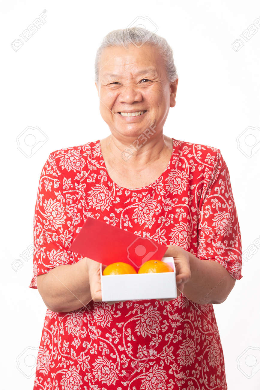 Old woman and Chinese new year. - 165368724