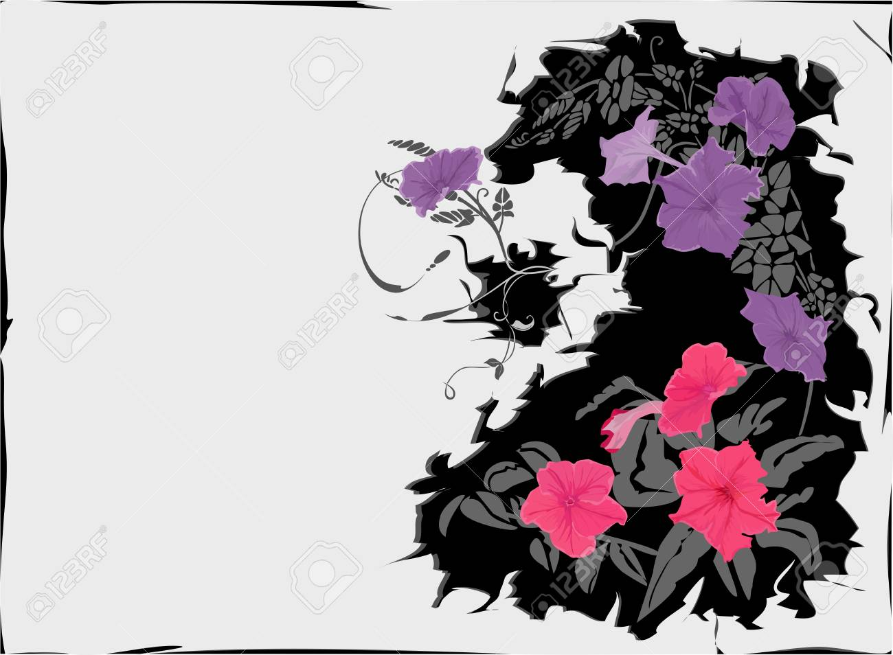 Crackle background with purple and violet flowers. Stock Vector - 3215033