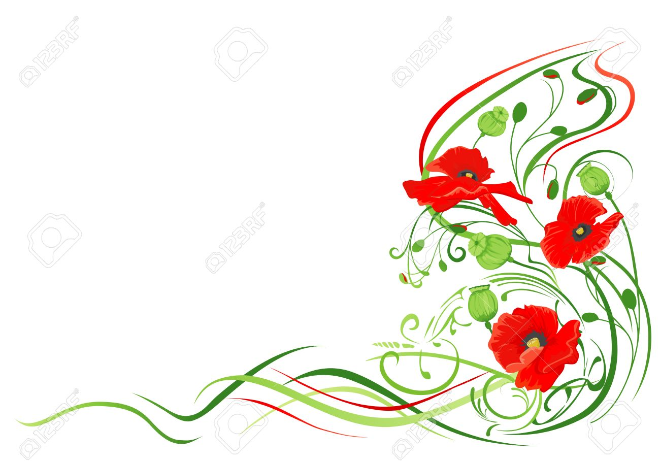 Summer background with red poppies frame. Stock Vector - 3500824