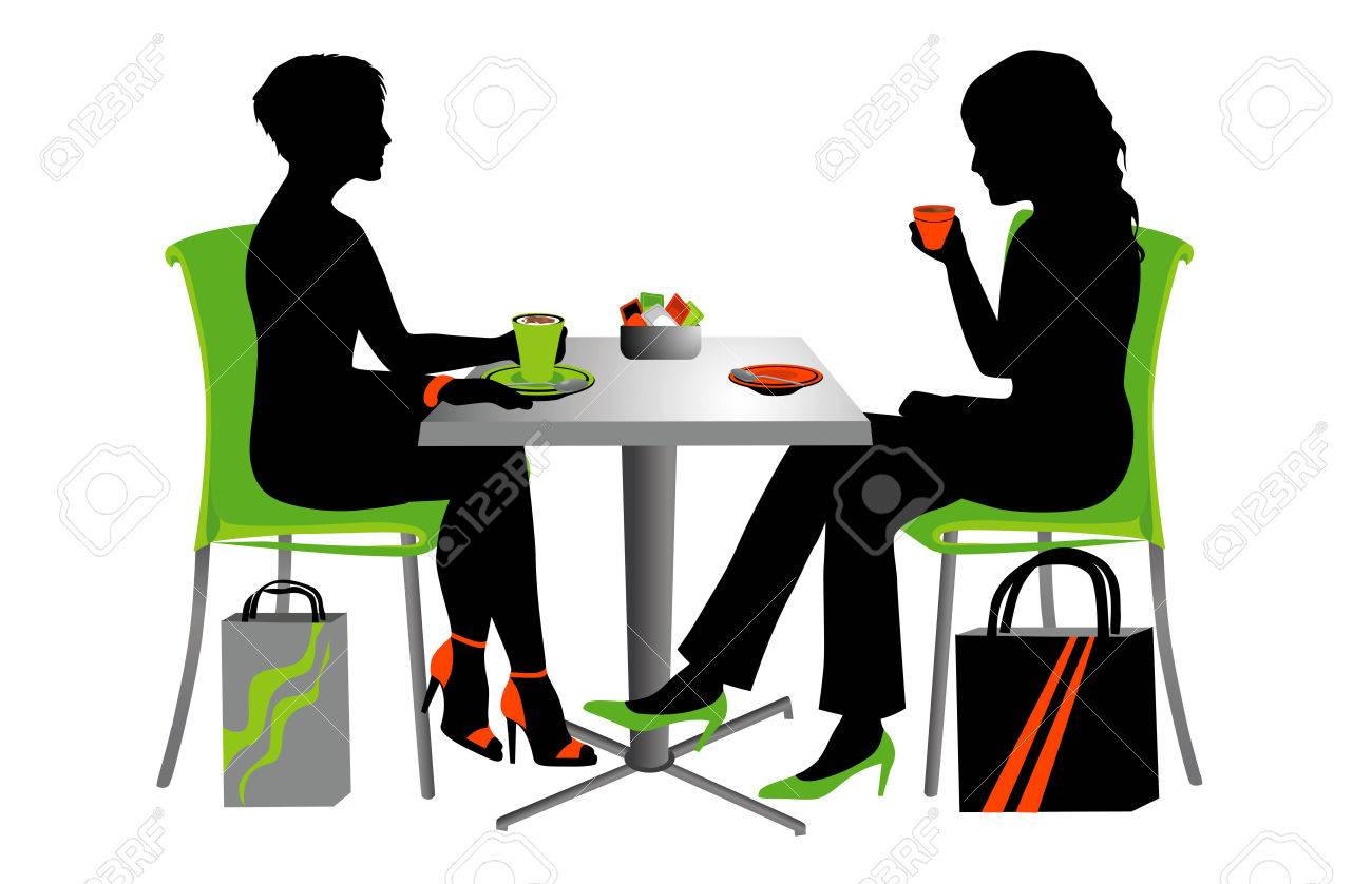 Two Women At A Small Table Drinking Coffee. Royalty Free Cliparts ... c1532a146