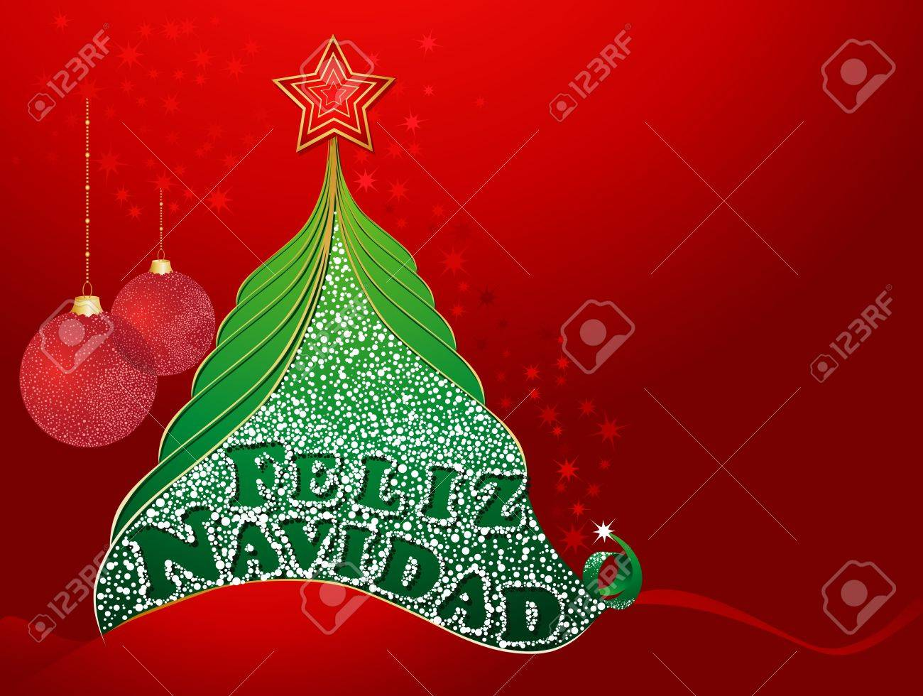 Red christmas card with tree and with merry christmas in spanish red christmas card with tree and with merry christmas in spanish feliz navidad stock vector kristyandbryce Images