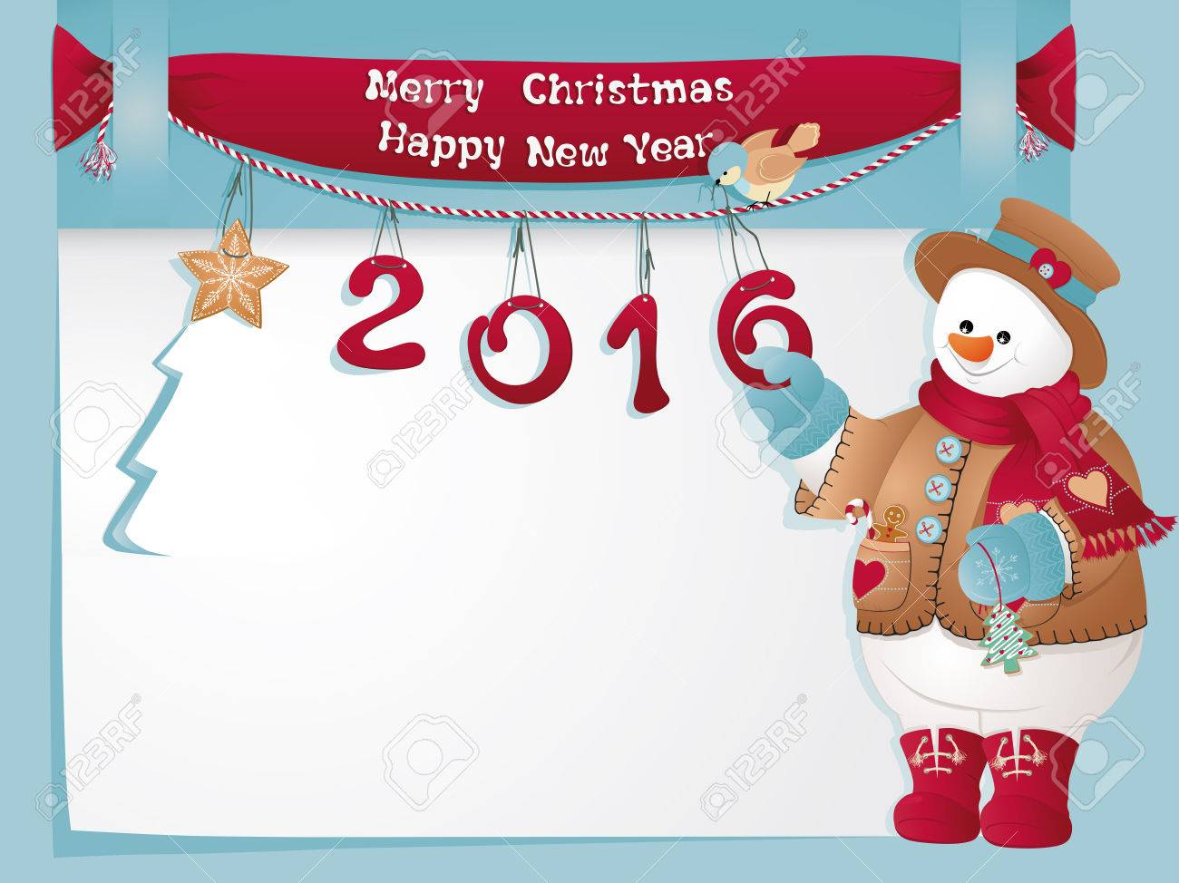 Funny Christmas Card With Snowman Merry Christmas And Happy