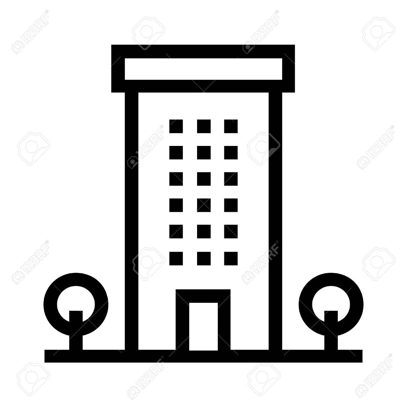 apartment building line vector icon with trees flat sign and