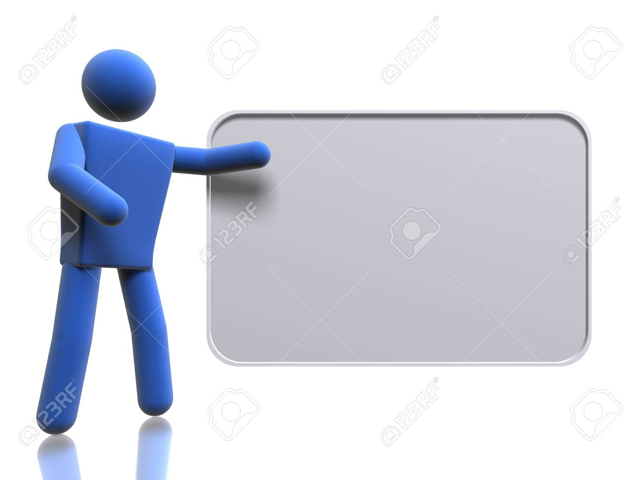 3d figure pointing to a message board stock photo picture and