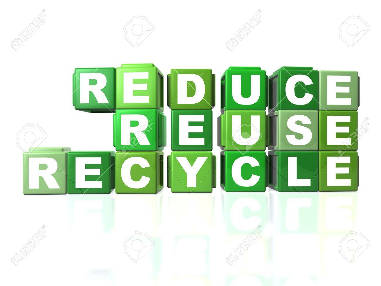 Green blocks that spells out REDUCE, REUSE & RECYCLE Stock Photo - 8173415