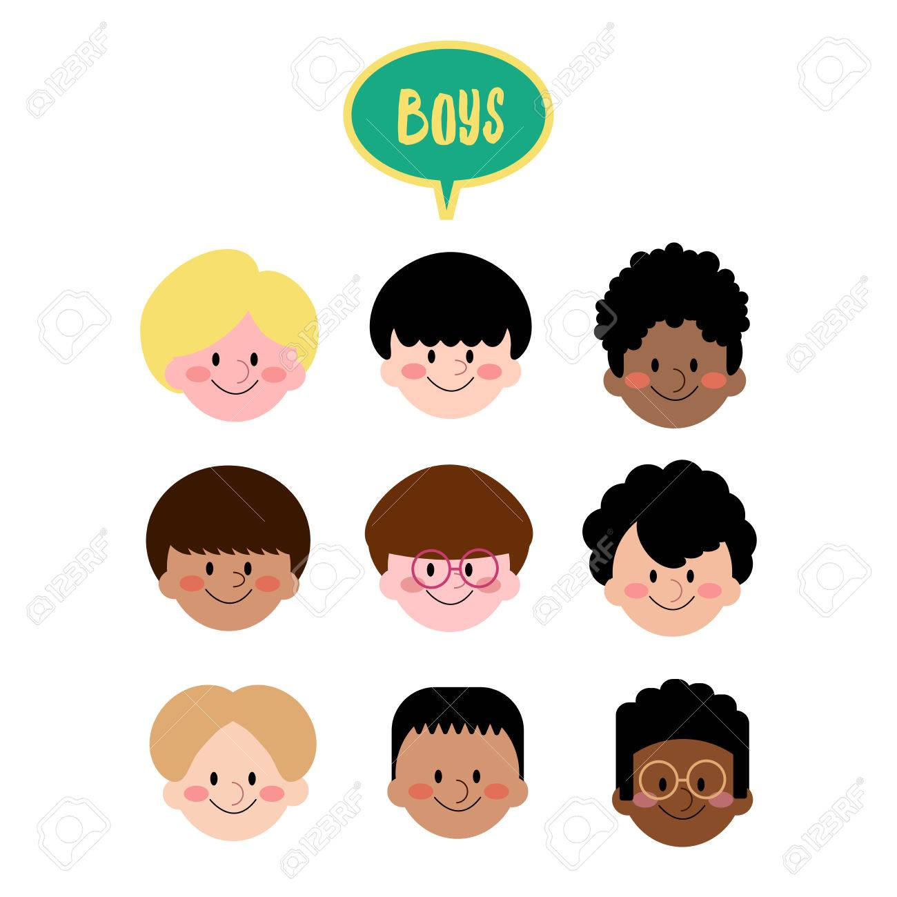 Vector Boys Face Flat Design Collection Of Different Ethnic