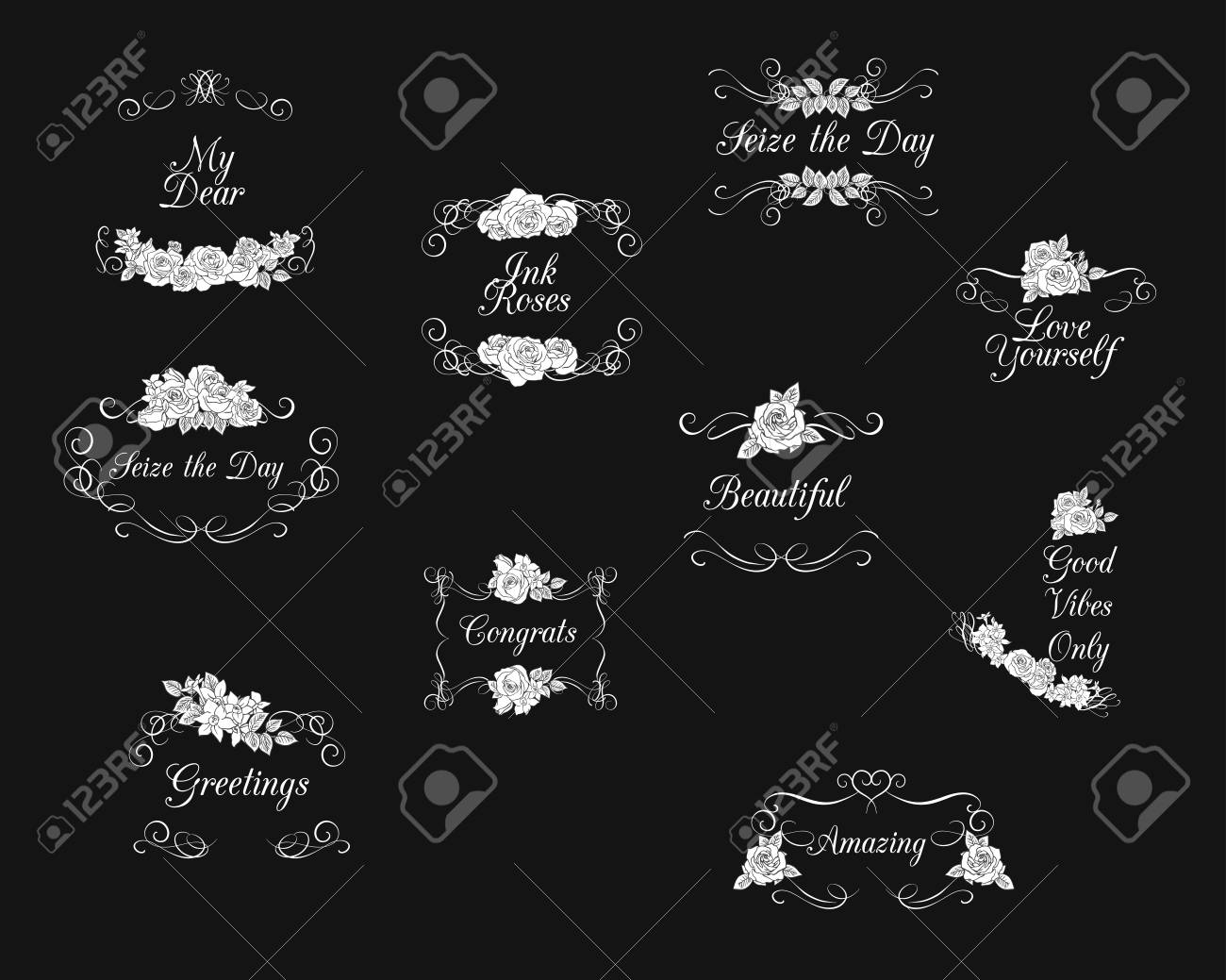Vectored rose frames with flourishes ink drawn floral ornaments vector vectored rose frames with flourishes ink drawn floral ornaments black and white flower backgrounds mightylinksfo