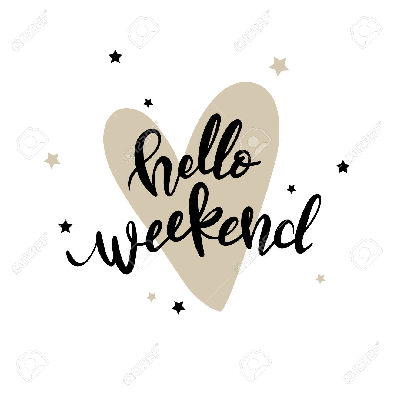 Modern Hand Lettering Quote, Hello Weekend, Vector Poster With Phrase,  Calligraphy Print,