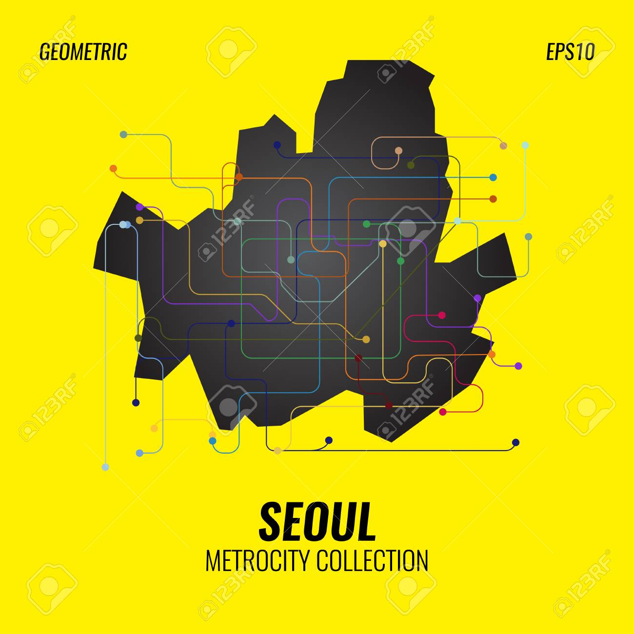Creative Subway Map.Seoul Metro Map City Subway Graphic Vector Abstract Poster