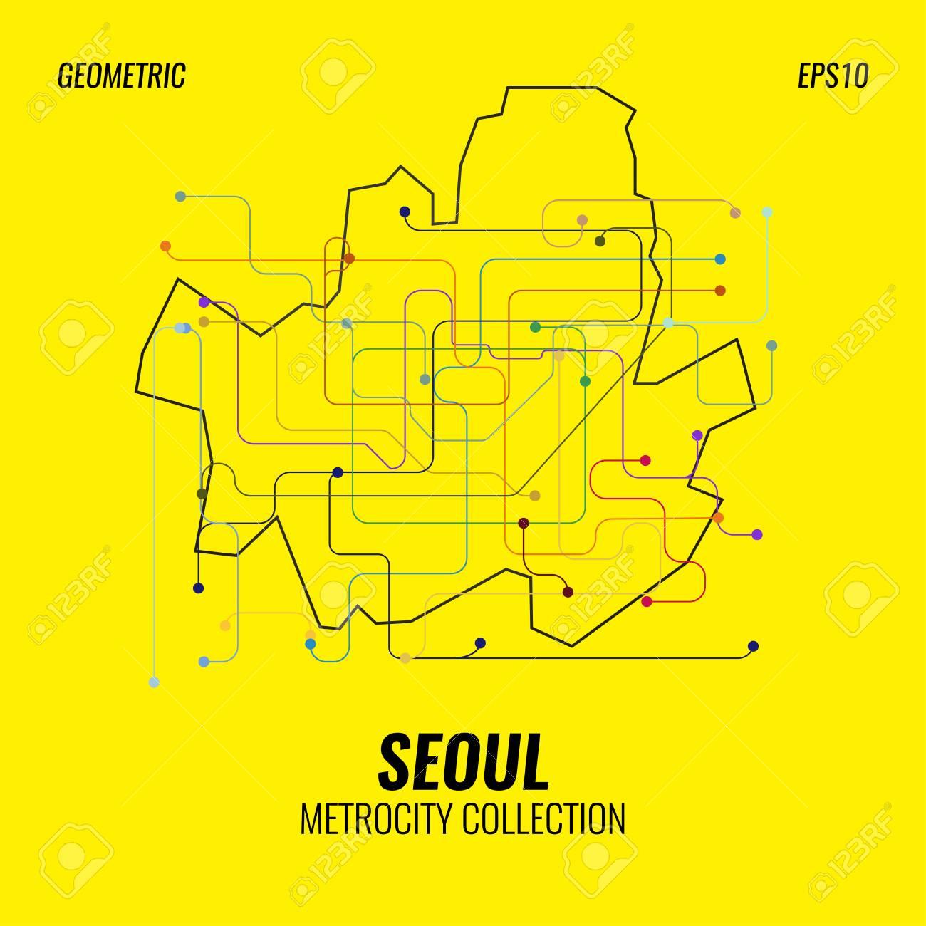 Seoul Metropolitan Subway Map Download.Seoul Metro Map City Subway Graphic Vector Abstract Poster