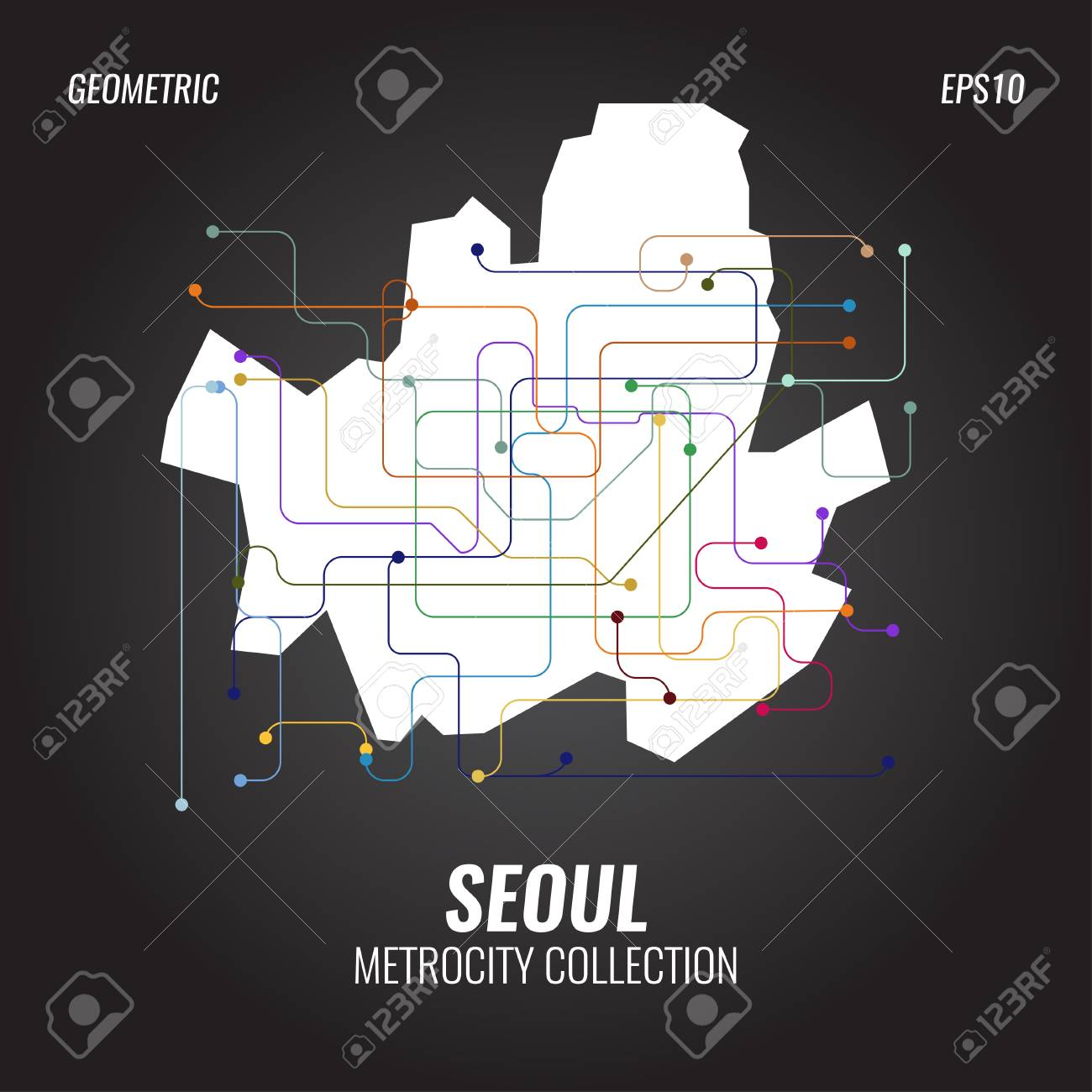 Seoul Subway Map Poster.Seoul Metro Map City Subway Graphic Vector Abstract Poster