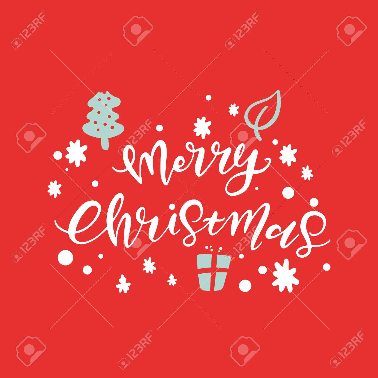 Vector Merry Christmas Hand Lettering Holiday Cards With Hand