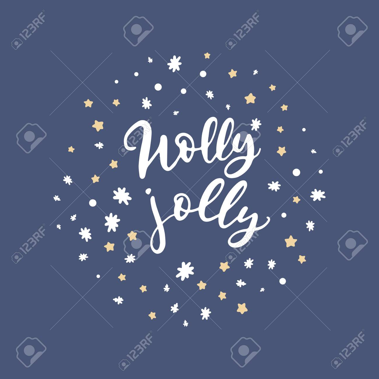 Vector Holly Jolly Hand Lettering Holiday Cards With Hand Drawn