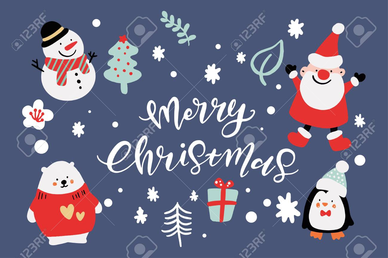 Christmas Backgrounds Cute.Vector Cute Christmas Graphics Graphic Poster With Hand Drawn