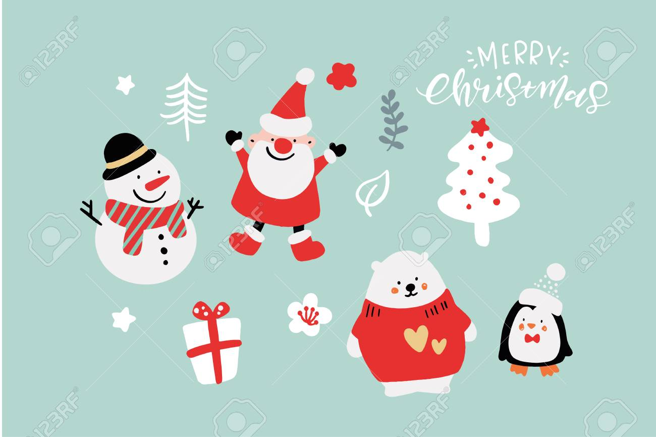 Cute Christmas Backgrounds.Vector Cute Christmas Graphics Graphic Poster With Hand Drawn