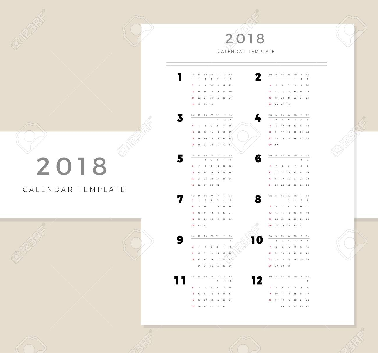 2018 Vector Calendar Template, 2018 Simple Planner, New Year ...