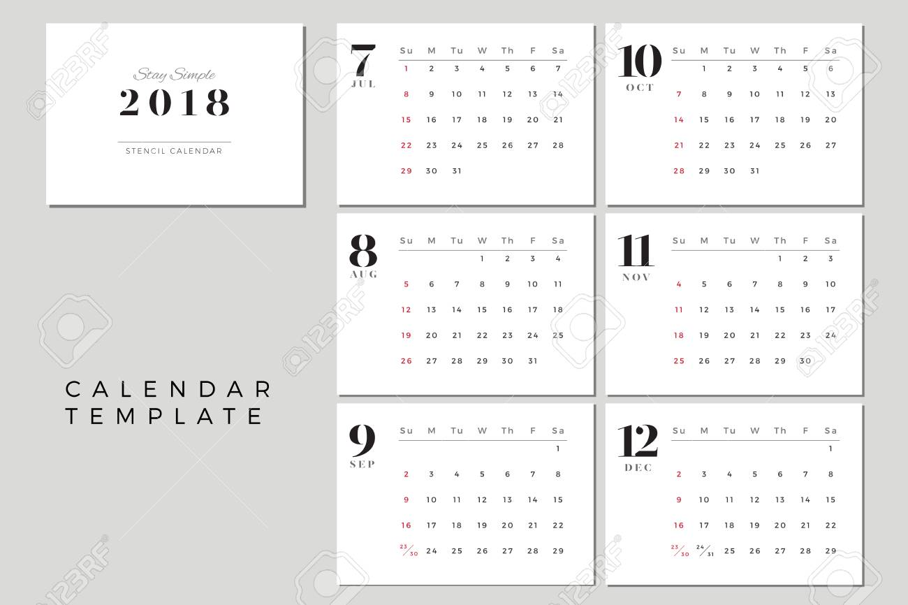 2018 vector calendar template july to december 2018 simple planner
