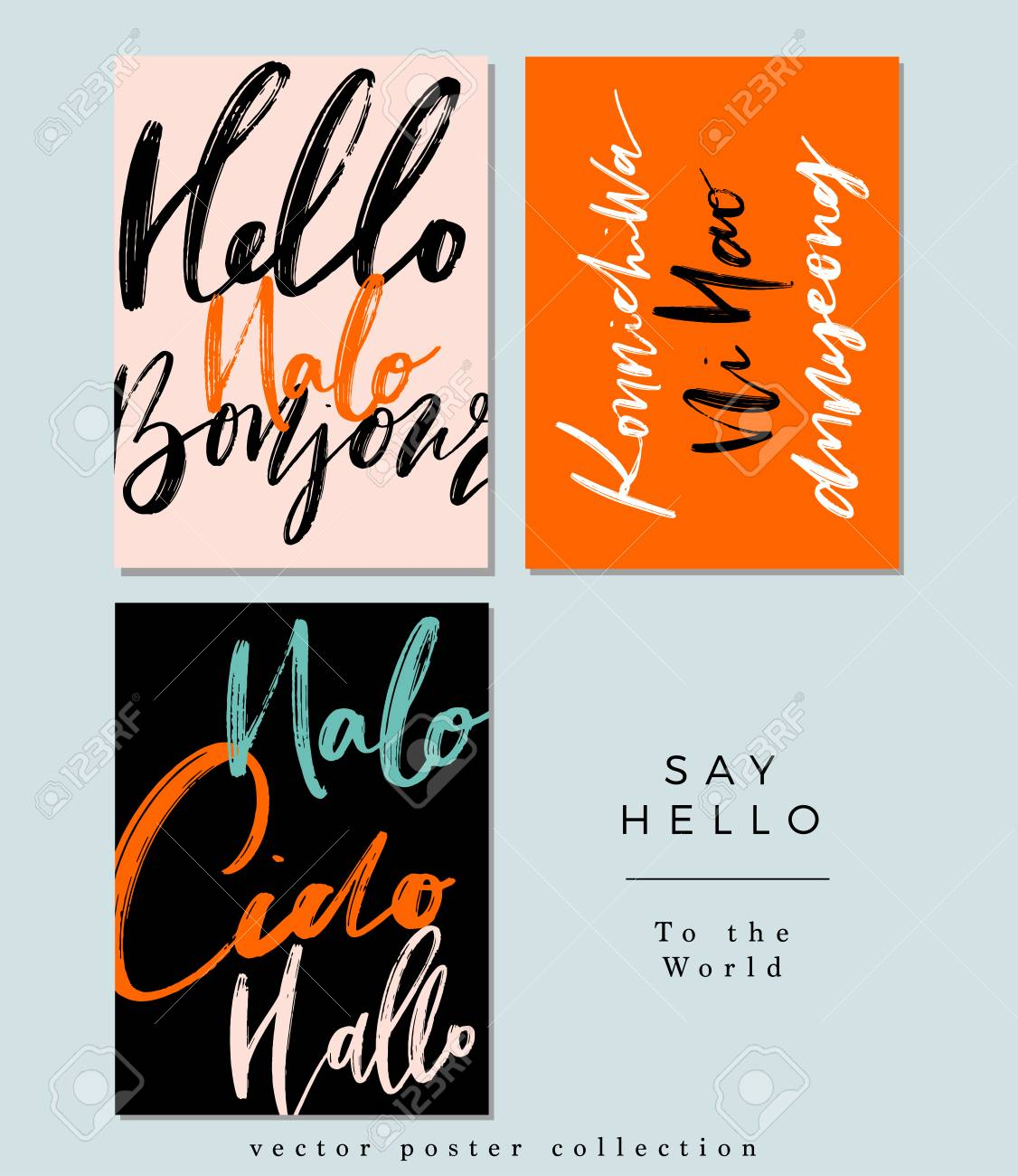 A Set Of Words Hello In Different Language Greetings Vector