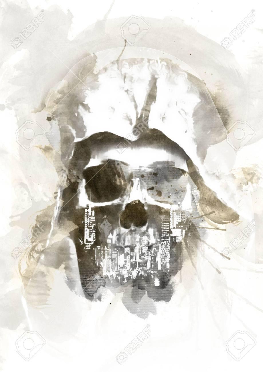 Préférence Acquerello Skull Per Un Facile Utilizzo In Disegni E Layout Foto  YG89