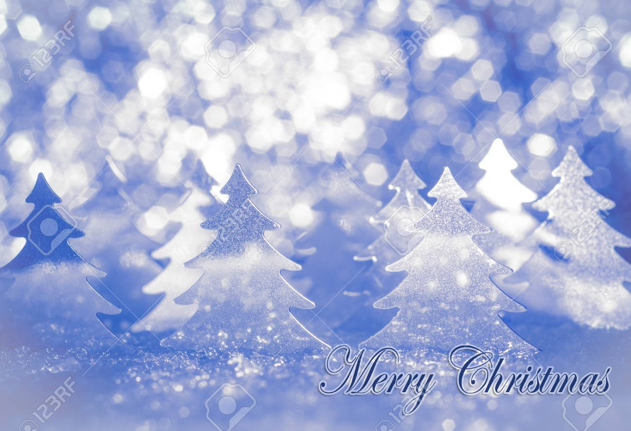 Christmas card for greetings stylized fir on snow in shades stock christmas card for greetings stylized fir on snow in shades of blue with the words m4hsunfo