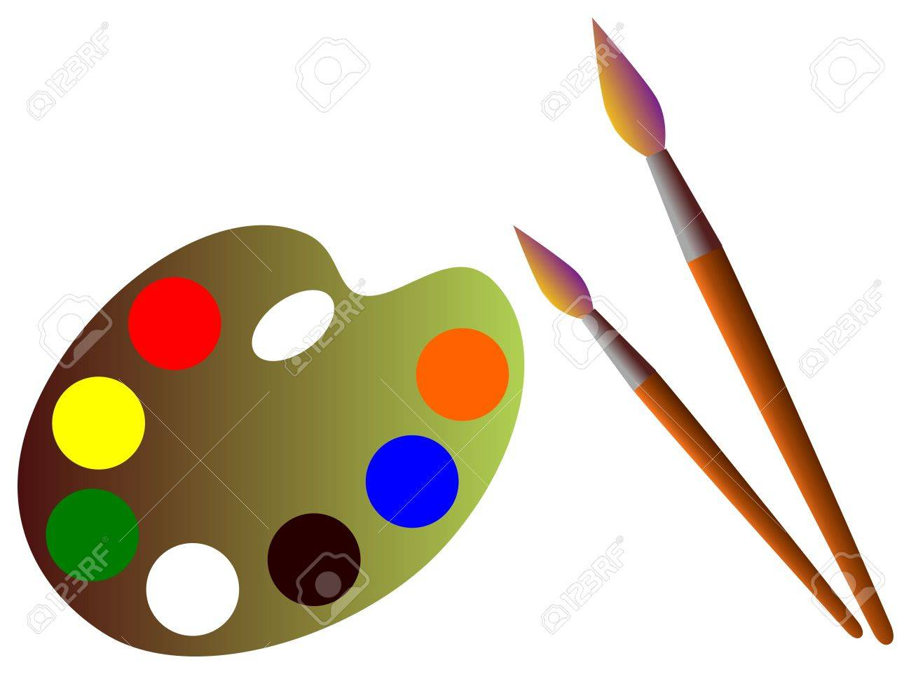 Paintbrush and pallet Stock Vector - 3945152