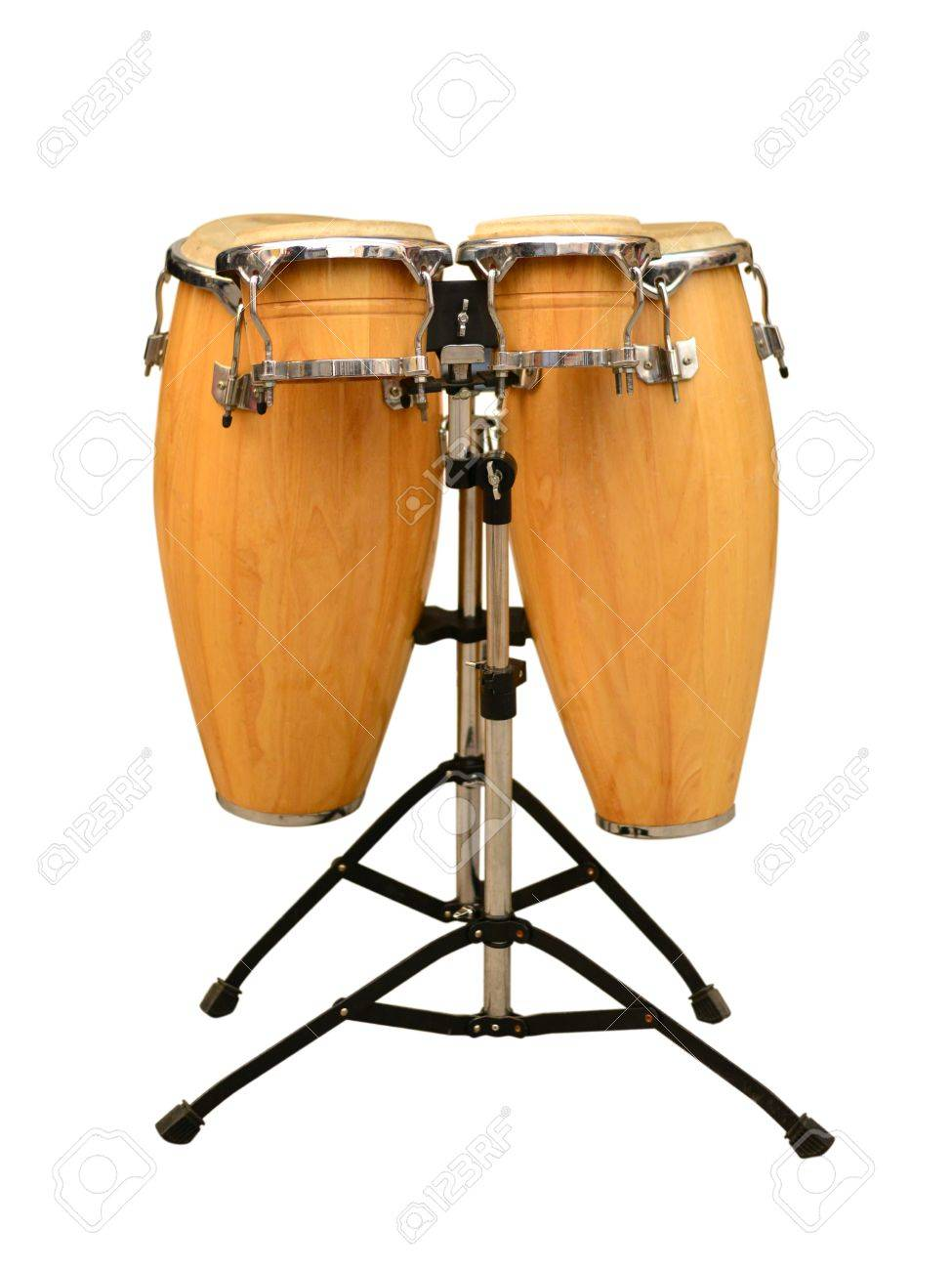 Lp Latin Percussion Caliente Series 11 And 12 Conga Drum Set With Aspire Lpa 647 Vsb On White Background Stock Photo
