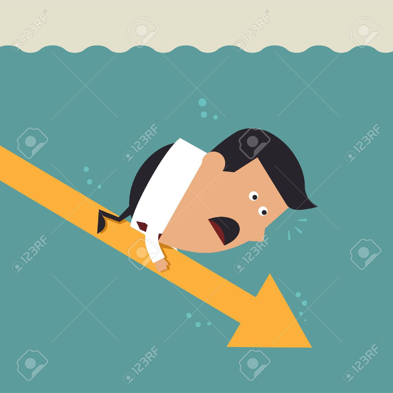 Young businessman with falling arrow, Business concept Stock Vector - 24441344
