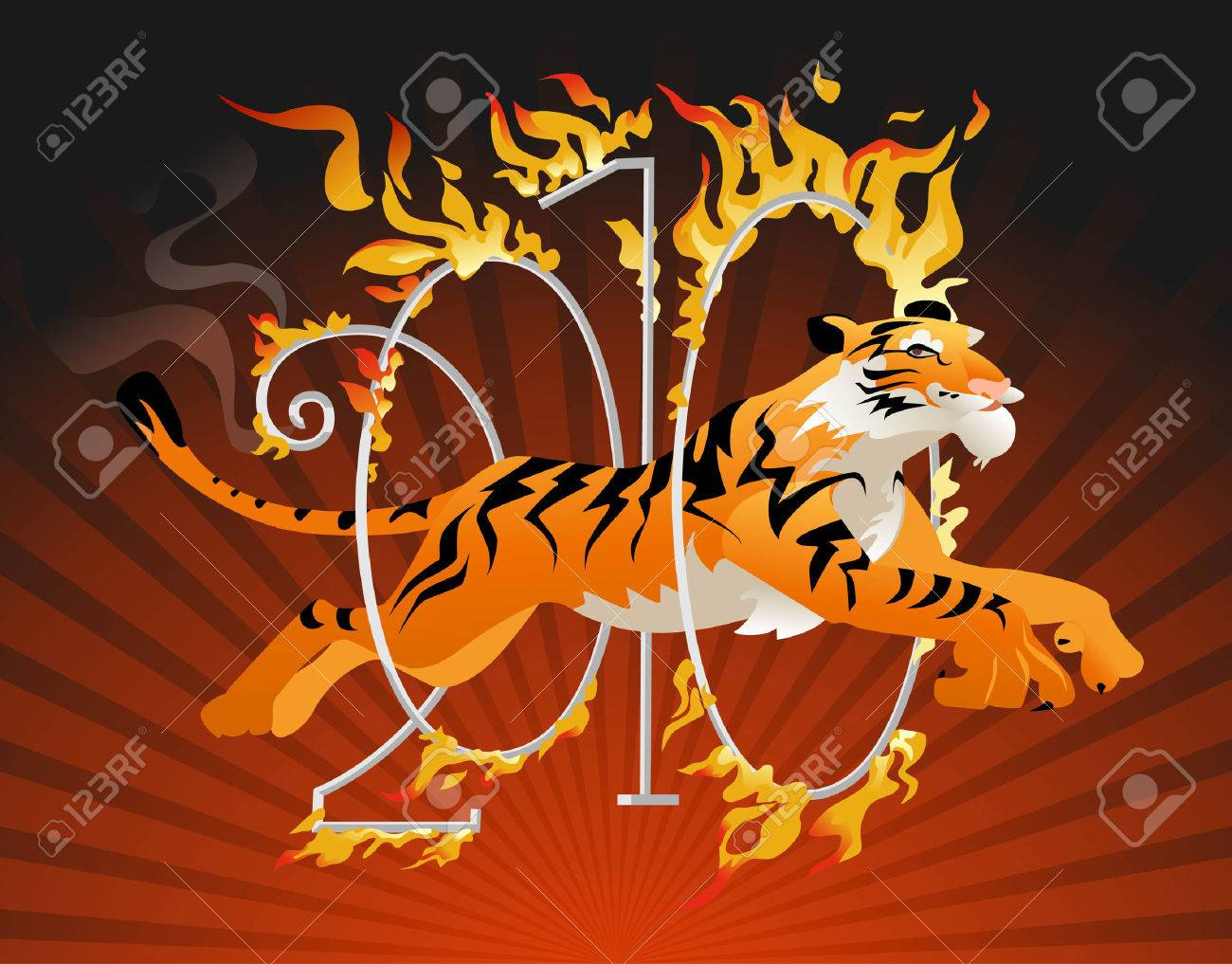 Tiger symbol of the year jumping through a hoop of fire Stock Vector - 5860470