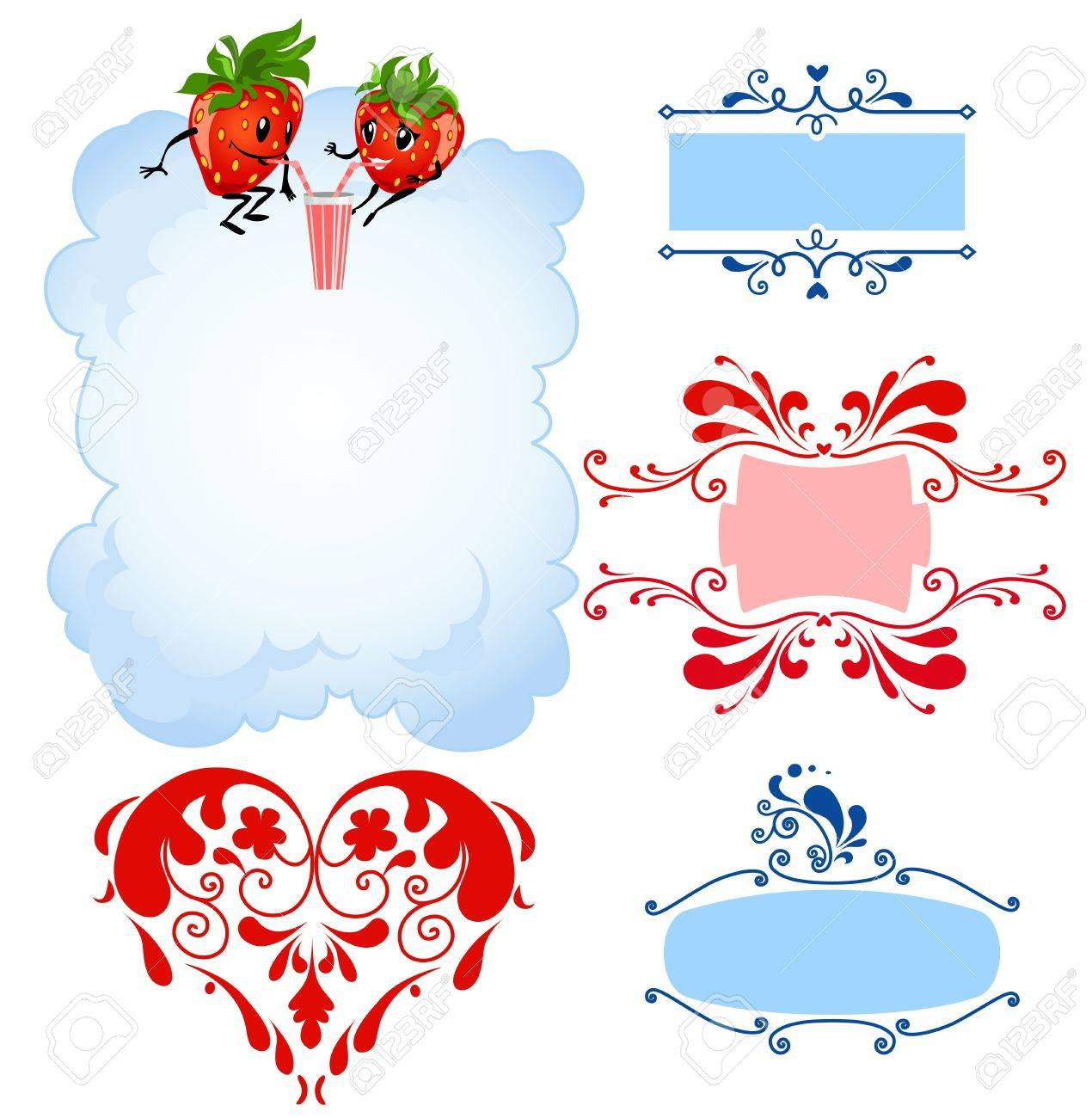 Cartoon strawberry and frames Stock Vector - 9334028
