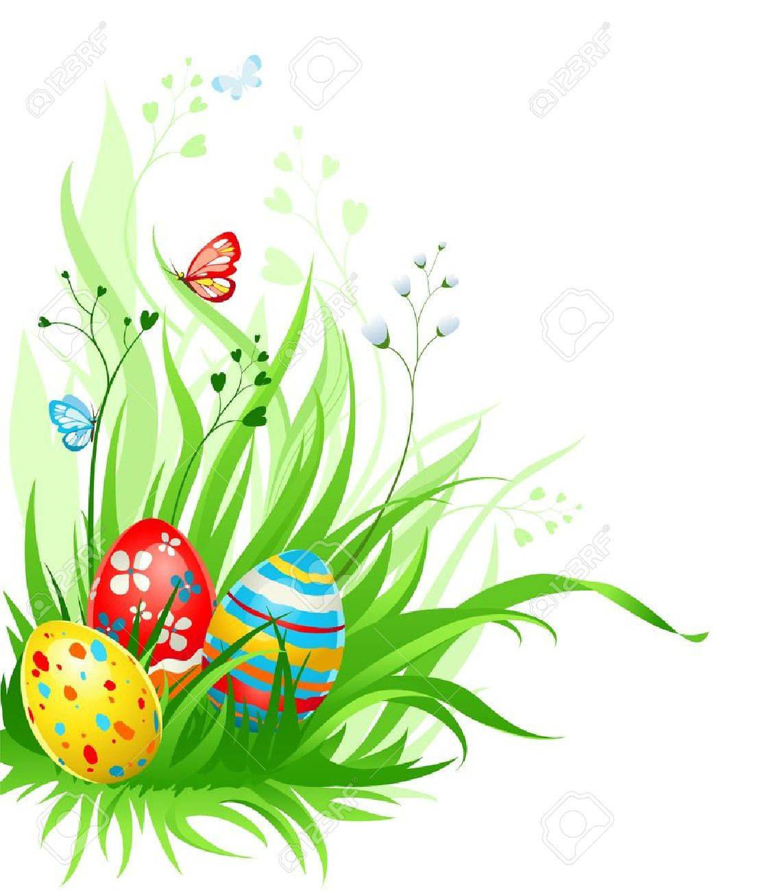 Easter Eggs On Grass Stock Vector
